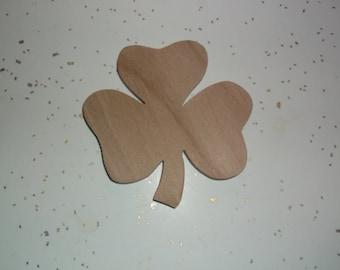 "25 Unfinished Wood Irish Clovers, Wood Shamrock, Wooden Clover, St. Patrick's Day, Irish Clover - 3"" x 3"""
