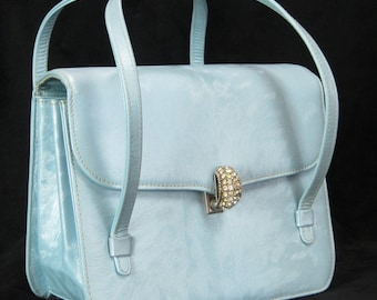 Vintage 1950s Baby Blue Leather Evening Purse Saks Fifth Avenue- Adorable!!