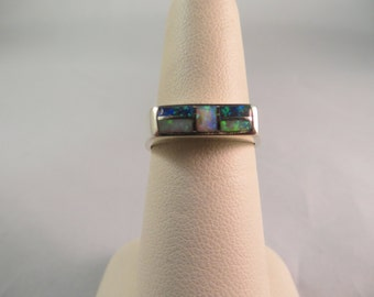 Vintage Navajo Sterling Silver Opal Inlay Ring