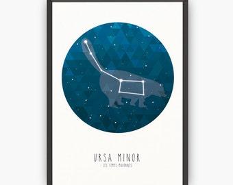 Ursa minor print, Ursa minor, Ursa minor art, Constellation art, Nursery art, Nursery print, Wall art, Kids illustration, Kids art