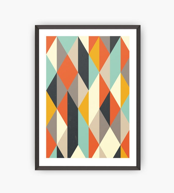 mid century art print retro poster geometric by shoptempsmodernes. Black Bedroom Furniture Sets. Home Design Ideas