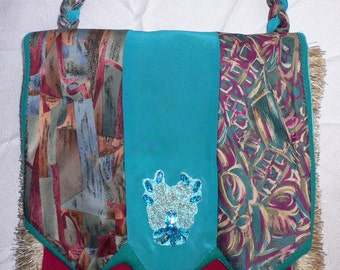 OOAK Three Tie and Fringe Shoulder Bag