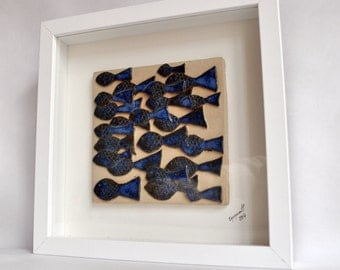 Ceramic Sculpture, Wall Art, Framed and Ready to Hang, Ceramics and Pottery