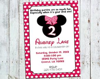 5.5x8.5 Minnie Mouse Birthday Invite