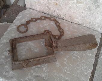 Large antique iron trap