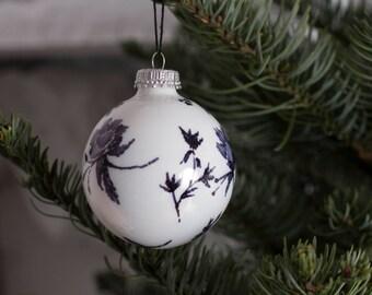 Black & White Floral Ball Ornament