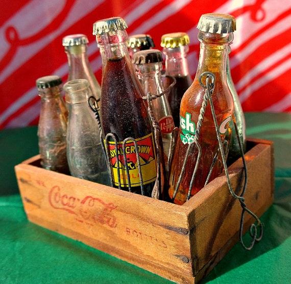 Set Of 11 Mini Soda Pop Bottles In Mini Wooden By
