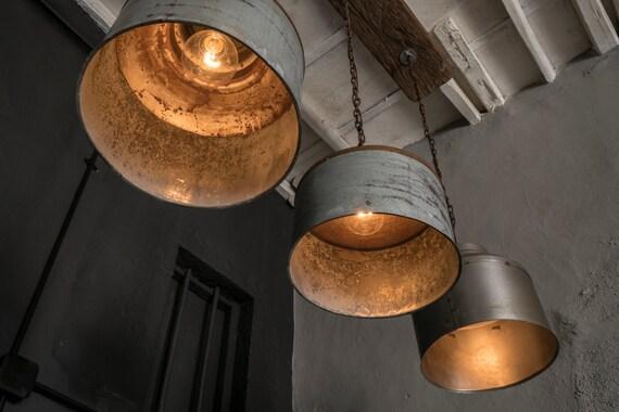 Items Similar To Galvanized Light Rustic Industrial
