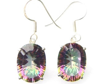 Absolutely Stunning Hand Made Mystic Topaz Oval Sterling Silver Earrings