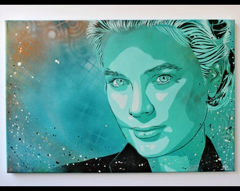 Princess Grace Kelly - Portrait on canvas. Size : 60 x 40 cm. Hand made painting using stencils and acrylic spray paint