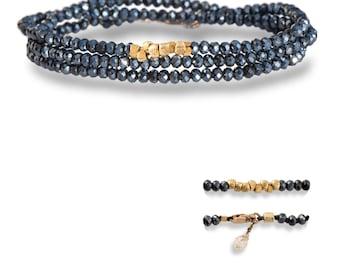 Eightfold Path Hematite Wrap Bracelet Chinese Crystals Vermeil Swarovski