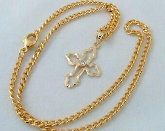 FINE diamond cross pendant with matching chain, GelbGold