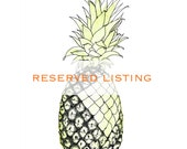 "Reserved Listing for Asami - Original Mixed Media Art - Pineapple 8"" x 11.5"""