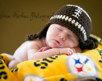 Football Hat, Ready to Ship, Baby Boy Hat, Crochet Baby Hat, Ear Flap Hat, Baby Boy, Baby Hat, Newborn Hat, Newborn Prop, Baby Newborn Hat