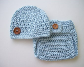Baby Boy, Hat and Diaper Cover, Baby Boy Hat, Newborn Hat, Crochet Baby Hat, Newborn Photo Prop, Baby Blue, Baby Boy Beanie, Crochet Beanie