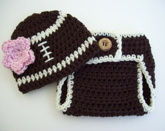 Football Outfit, Baby Girl Hat, Football Hat, Diaper Cover, Football Beanie, Baby Girl Beanie, Crochet Baby Hat,  Photo Prop, Baby Girl