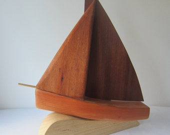 Hand carved ornamental sailing boat in mahogany and ash - wood carving, wood sculpture