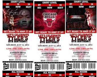Printable Birthday Party Invitation Chicago Bulls Birthday Ticket Invitation Basketball Weddings Baby Showers Bar Mitzvahs