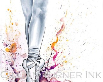 Watercolour Ballet Dance painting