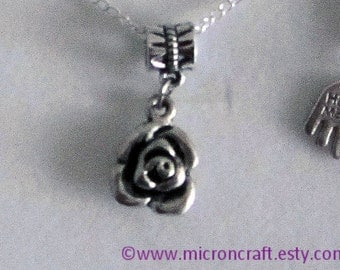 Silver Rose Pendant Necklace, Siver Plated Necklace, silver necklace, flower necklace, rose, silver rose, UK