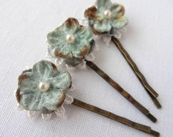 Dusky Blue Forget-me-not Hair Pins, Set of Three Floral & Lace Bobby Pins