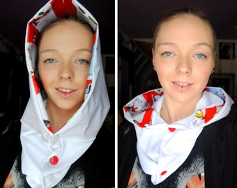"""Be Who You Are And Say What You Feel - Dr. Suess Print and White Handmade Button Up Cowl Hood Scarf """" Scoodie """""""