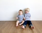 Modern Unisex Sibling Set (T's and/or Onesies) - Percy the Polar Bear - Hand Printed 100% Cotton Set by The Wild