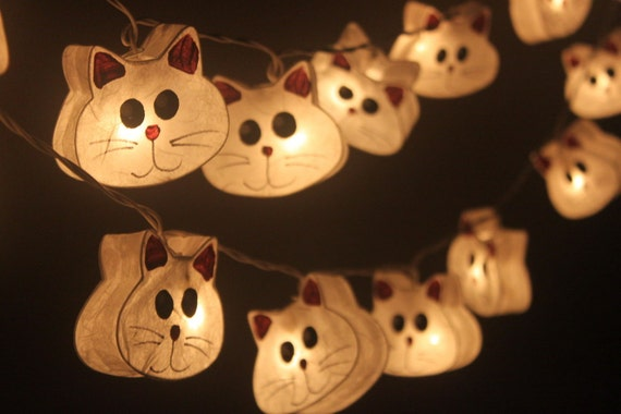 20 Little Cat Lantern String Lights for Deco by wanidacotton