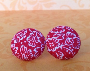 Handmade Red and White Flower Fabric Earrings