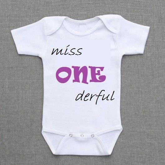 Mr Miss One Derful Wonderful 1 Year Old T Shirt Birthday