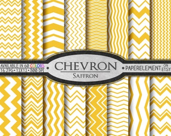 Saffron Chevron Digital Paper Pack - Instant Download - Digital Scrapbook Paper with Chevron Stripe