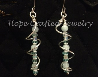 Spiral of Ocean Colored Aquamarine, Apatites, Opals Sterling Silver Earrings (E001AqOp)