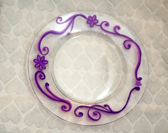 Clear Glass Plate, hand painted with swirls and flowers