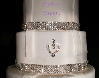 Real Rhinestone Double Heart Cake Push In