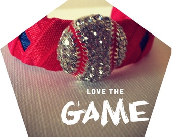 """Baseball jewelry, Baseball Bling cuff Bracelet. approximately 1"""" wide and is adjustable to fit your wrist comfortably"""