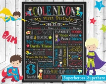 Superheros Superhero Boys ChalkBoard Wall Art, Baby 1st Birthday Poster, Chalk Board, Wallart Custom & Personalized