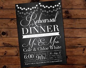 Elegant Lantern Lights Black Rehearsal Dinner Invitation, Engagement Party Invite Wedding