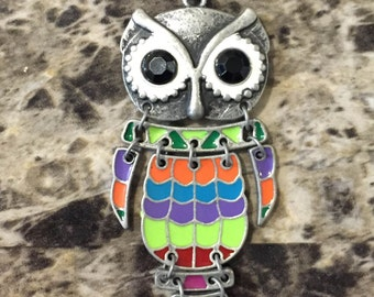 vintage owl necklace, hand-made, original, colorful