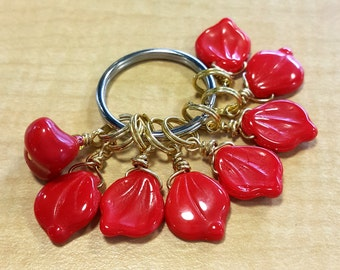 Candied Autumn, Red Leaf Glass, Knitting Notions, Gifts under 10, Knitting Gift -- Stitch Markers (Set of 8)