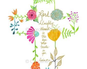Garden Psalms-Cross -matted print