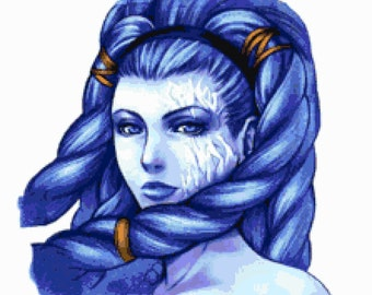 Shiva from Final Fantasy X cross stitch graph pattern