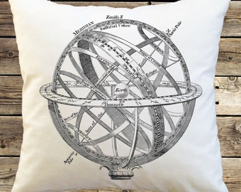 Armillary Sphere Pillow cover; Vintage Armillary Sphere graphic on a Decorative Throw Pillow Cover 16 inches square; Science pillow