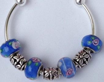 Periwinkle Flower Lampwork Beads Silver Plated Bangle Bracelet