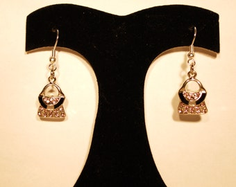 Earrings Pink and Black Purse E-64