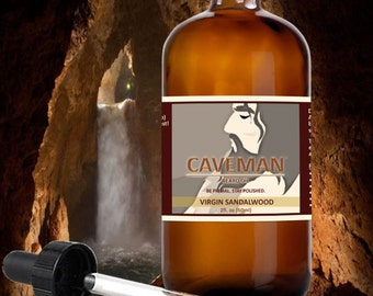 Beard Oil VIRGIN SANDALWOOD Scented Beard Oil For Men Made with Natural Oils. Beard Oil Conditioner. Great Holiday Gift for Him By CAVEMAN®