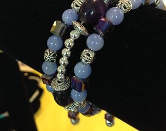 Lavender bangle, beaded bangle, memory wire bangle, Birthday gift, Valentine gift, Christmas gift, Mother's Day gift, gift for women
