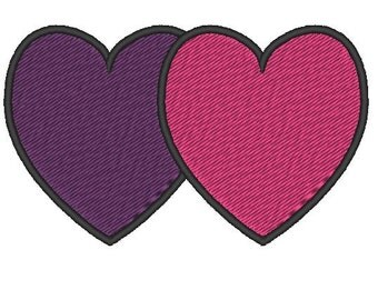 Two Heart Embroidery Download,Overlapping Hearts Embroidery Design, Love Embroidery Design, Small Heart Embroidery, 4x4 Embroidery