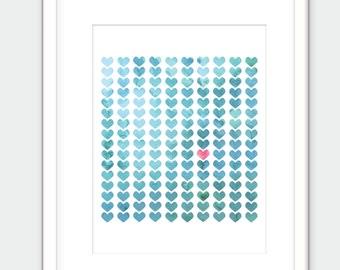 Tiny crystal gem hearts print. Blue watercolor art print.