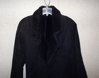 Vintage 1980's Black Suede Overcoat, Faux Fur Collar and Cuffs, Full Length Winter Coat, Size Medium