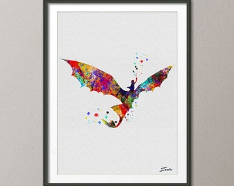 How To Train Your Dragon art night fury art dragon art How To Train Your Dragon poster watercolor poster print painting dragon decor  A103-1